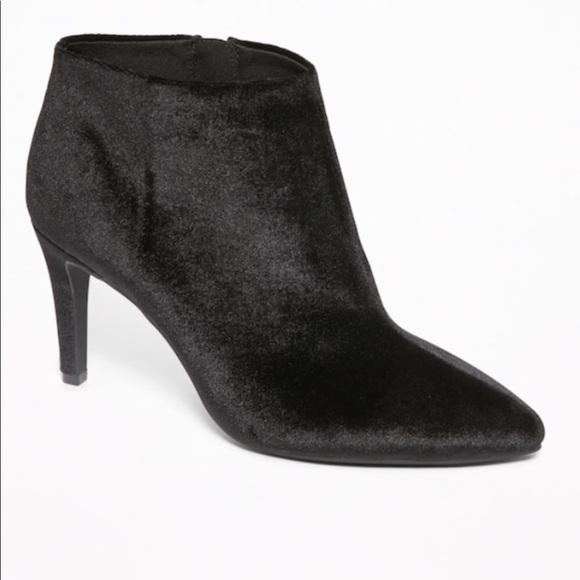 Black Velvet Pointed Toe Booties Heels